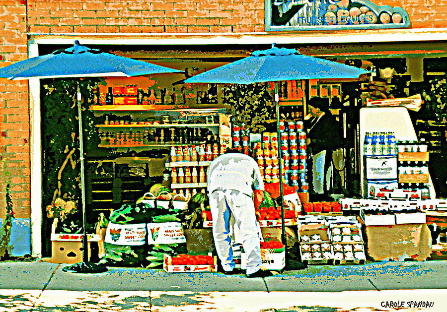 Montreal Painting - Marche Fruits Et Legumes Fruiterie And Convenience Store Vintage Montreal City Scene by Carole Spandau