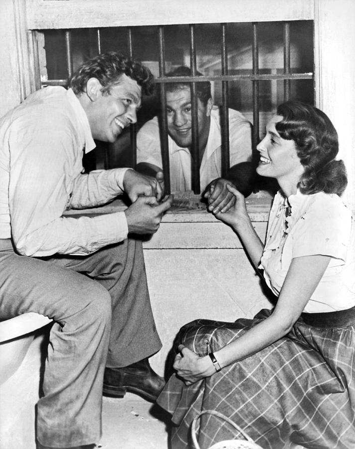 1957 Photograph - Marciano In A Movie Jail Set by Underwood Archives