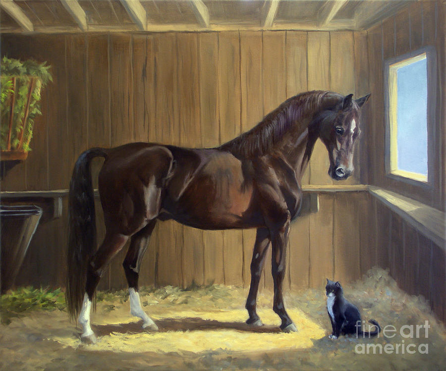 Morgan Horse Painting - Marco And Sneaker by Jeanne Newton Schoborg