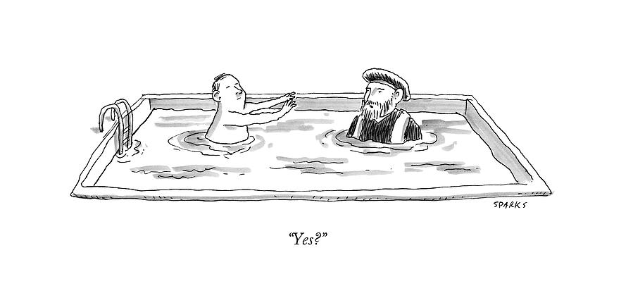 Marco Polo In A Pool With A Man Playing Marco Polo Drawing by Rich Sparks
