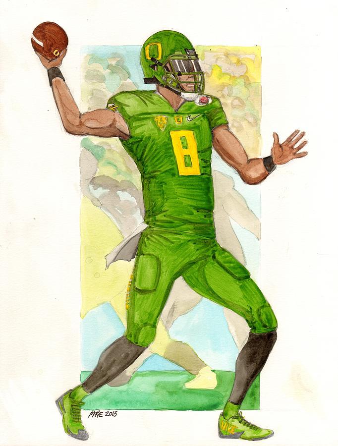 Marcus Painting - Marcus Mariota Oregon Ducks Rose Bowl by Paul McRae