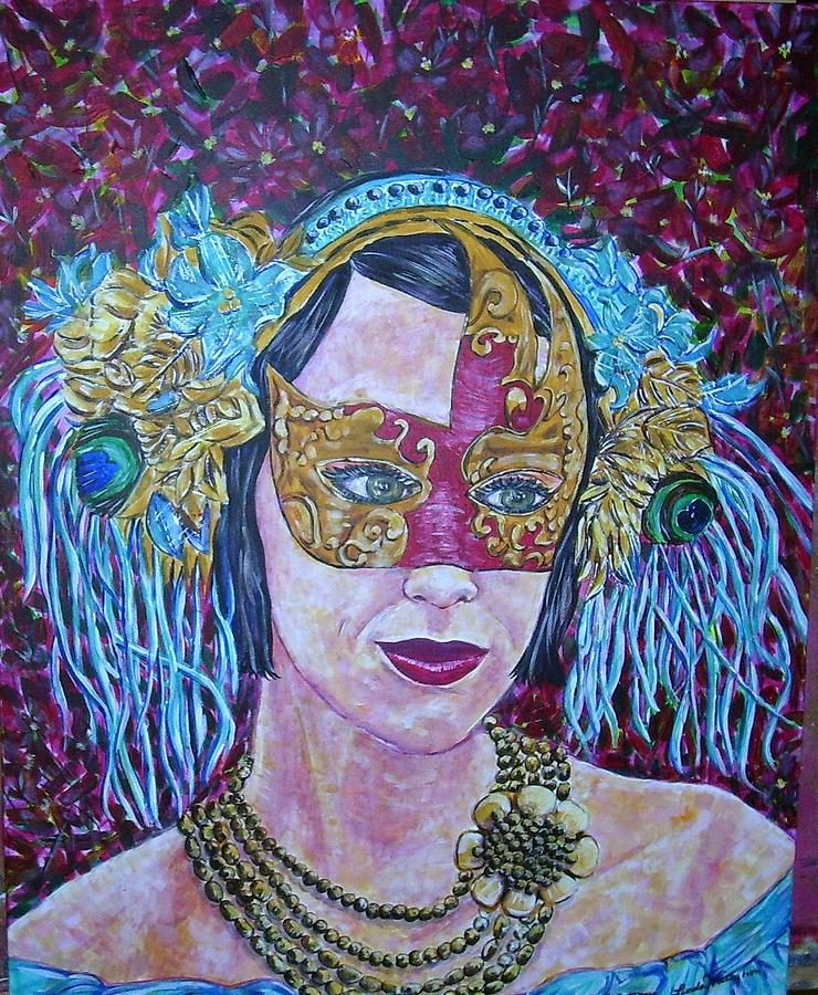 Mask Colors Woman Painting - Mardi Gras by Linda Vaughon