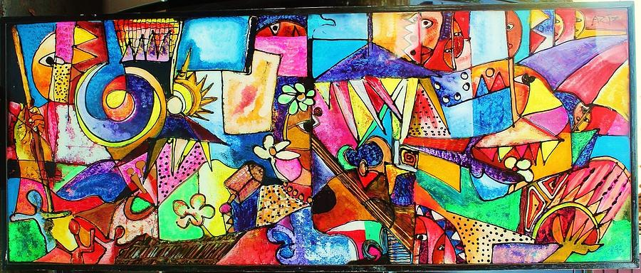 Mardi Gras Musical  Glass Art by Aziz Diagne