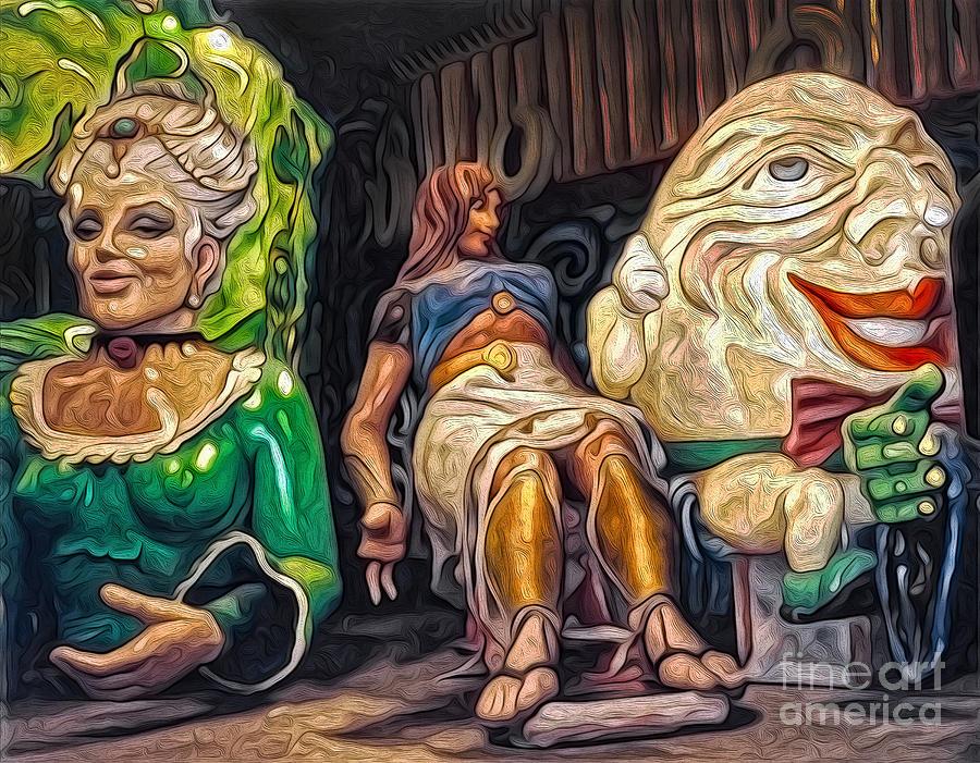 Mardi Gras World Painting - Mardi Gras World - Humpty Dumpty And Showgirls by Gregory Dyer