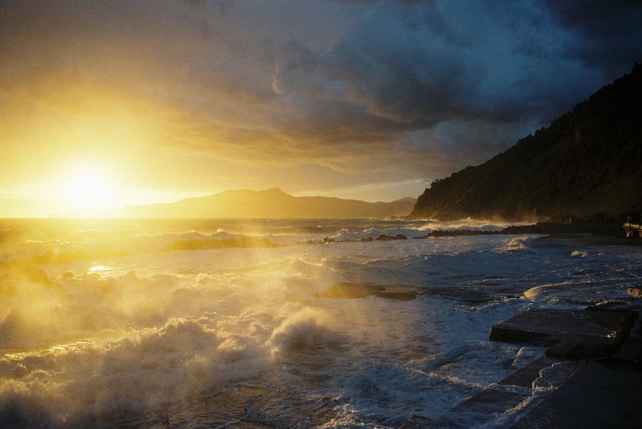 Storm Photograph - Mareggiata Al Tramonto - Storm At Sunset by Andrea Gabrieli