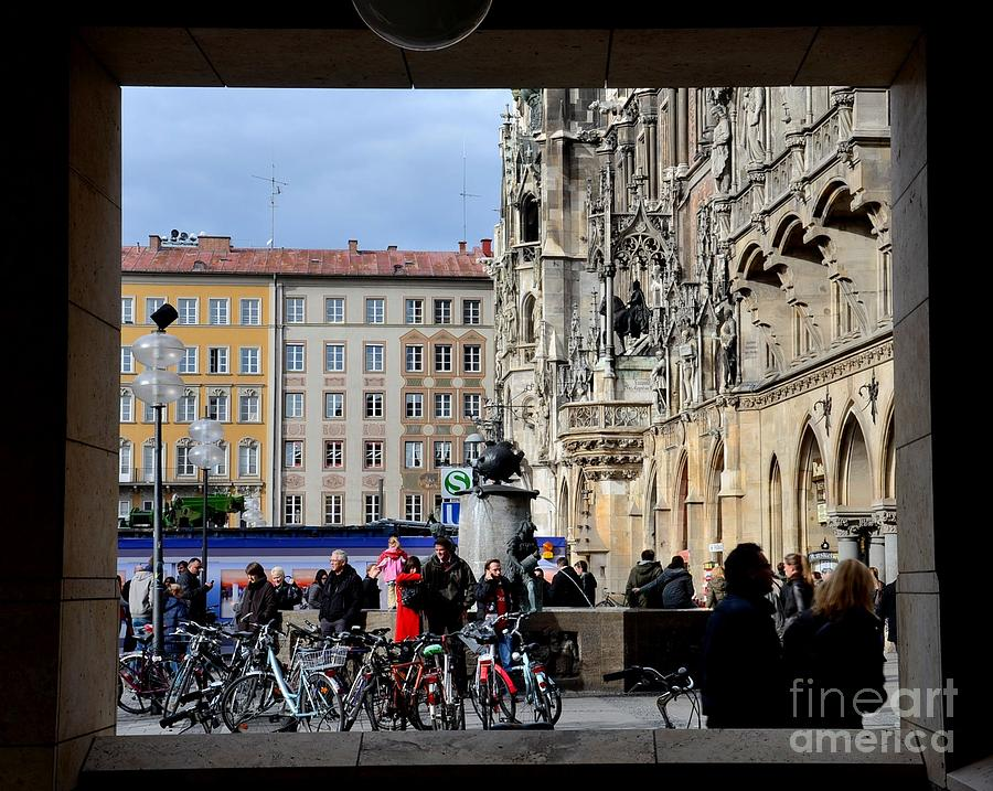 Window Photograph - Mareinplatz And Glockenspiel Munich Germany by Imran Ahmed