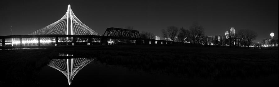 Margaret Hunt Hill Bridge Dallas Skyline Black And White Photograph