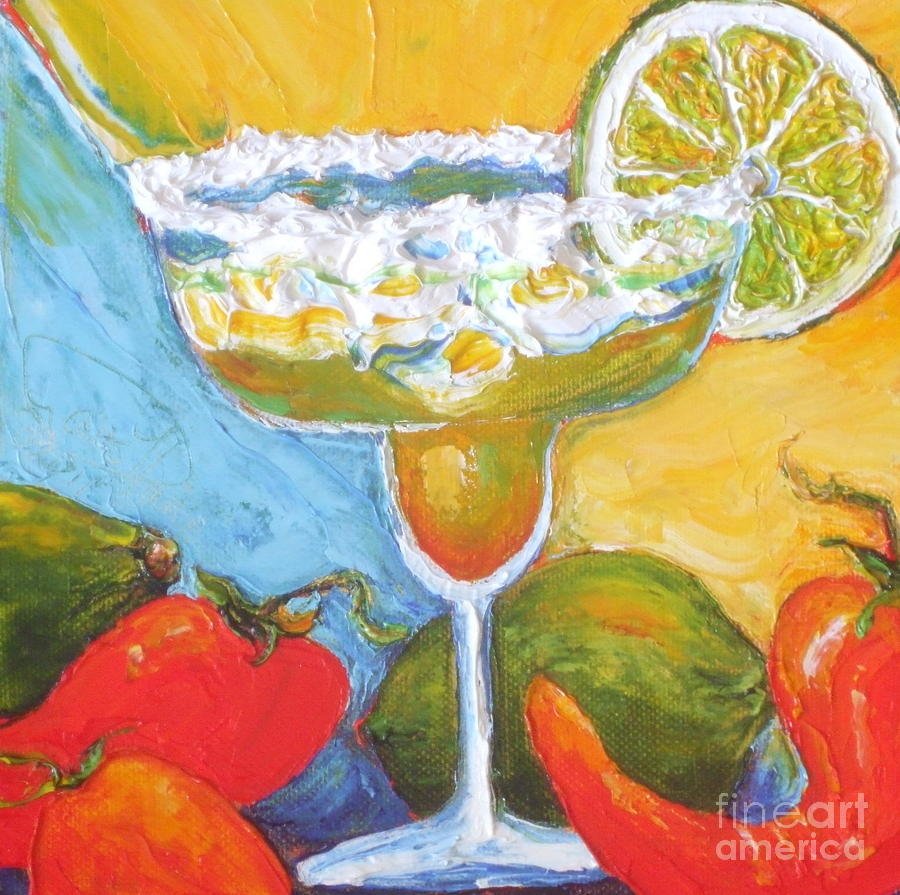 Lime Painting - Margarita And Chile Peppers by Paris Wyatt Llanso