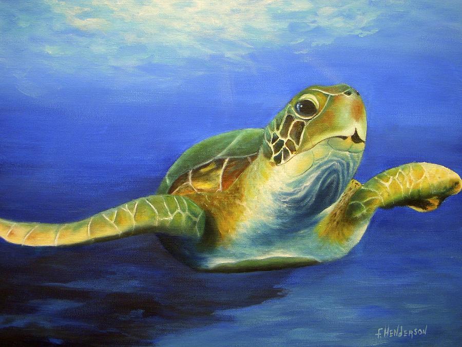 Sea Turtle Painting - Margie The Sea Turtle by Francine Henderson