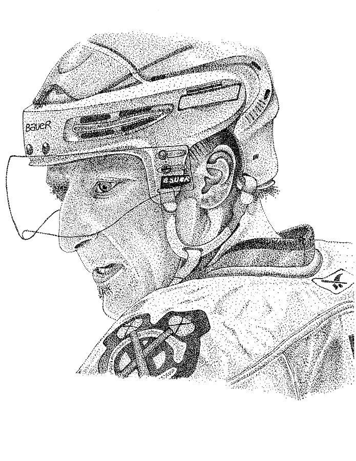 Marian Hossa Chicago Blackhawks Right Wing #81 Nhl Hockey Black And White Stippling Art Dot Art Pointalism Stanley Cup  Drawing - Marian Hossa  by Joe Rozek