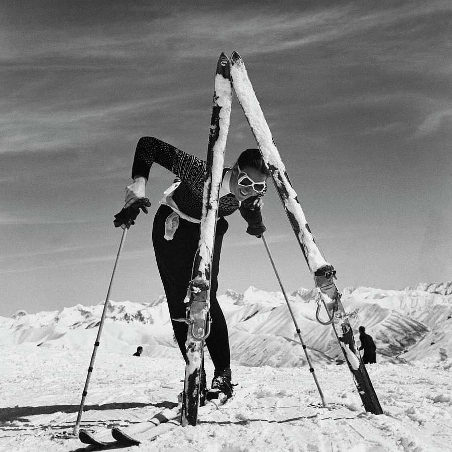 Marian Mckean With Skis Photograph by Toni Frissell
