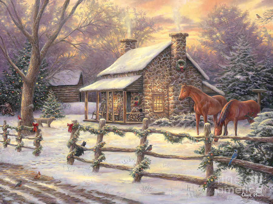 Stone House Painting - Mariannes Winter Hideaway by Chuck Pinson