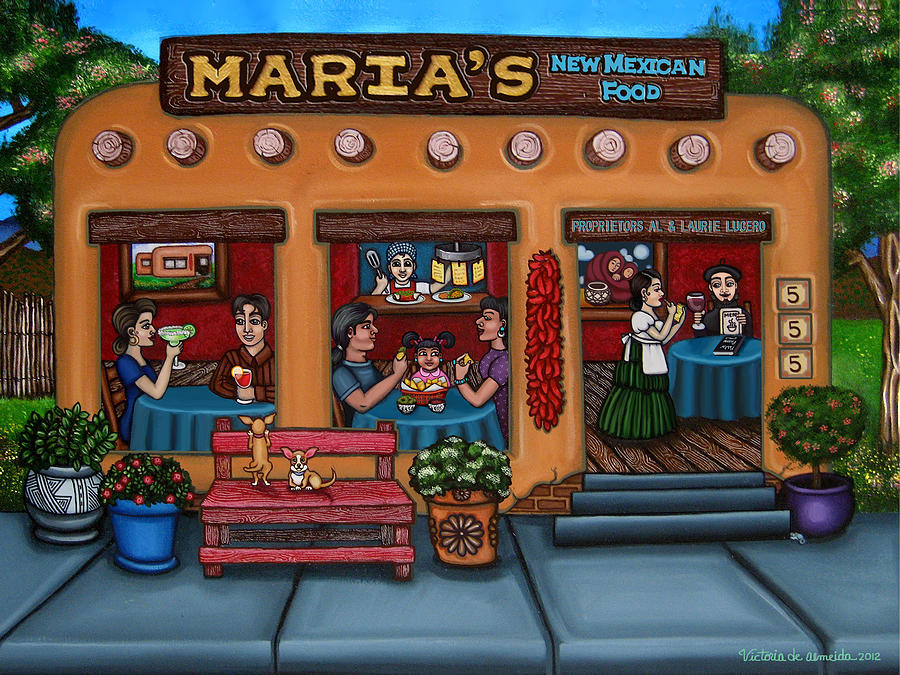 Folk Art Painting - Marias New Mexican Restaurant by Victoria De Almeida