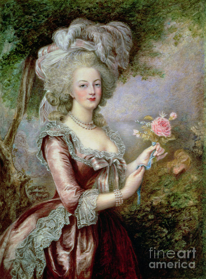 Plumed Painting - Marie Antoinette After Vigee Lebrun by Louise Campbell Clay