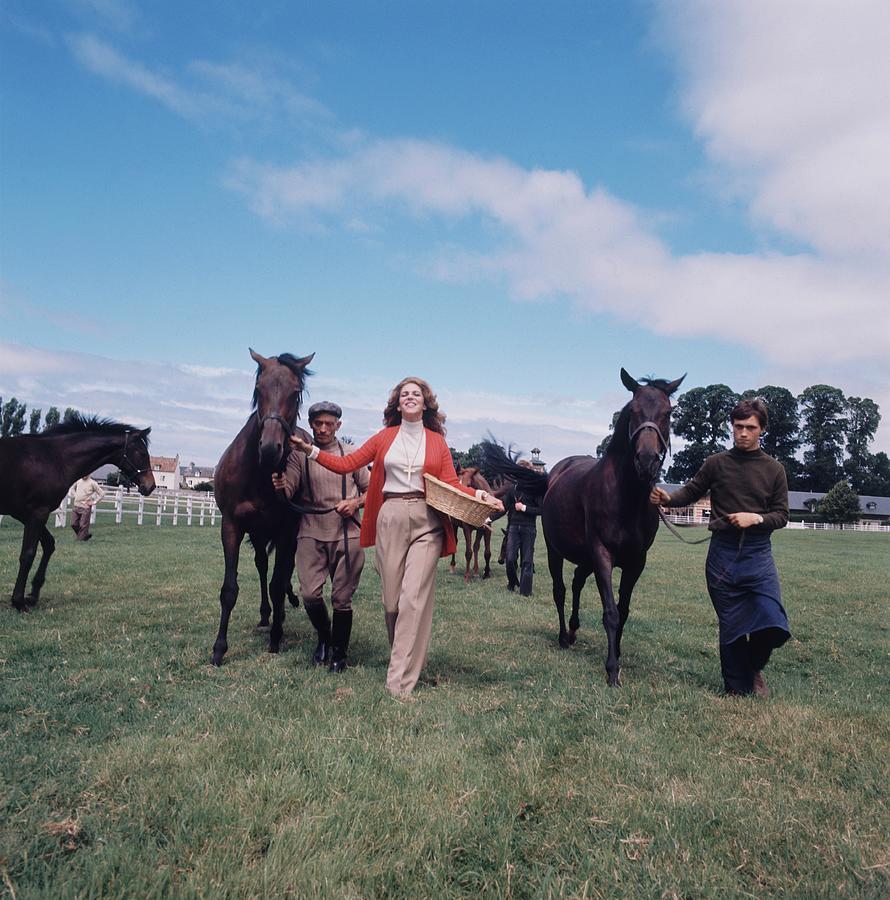 Marie-Helene De Rothschild With Horses Photograph by Henry Clarke