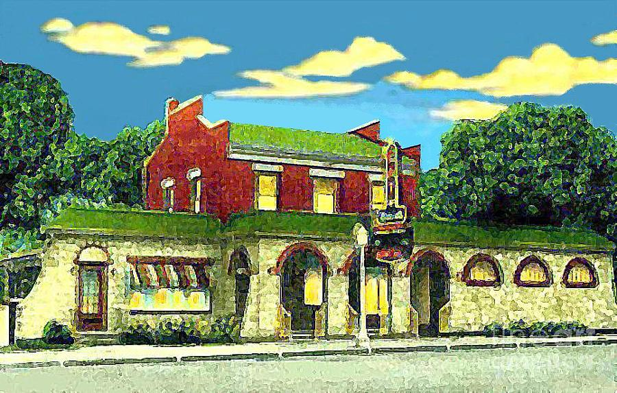 Cafes Painting - Maries Bowling Alley Cafe And Bar In Sauk City Wi Around 1940 by Dwight Goss