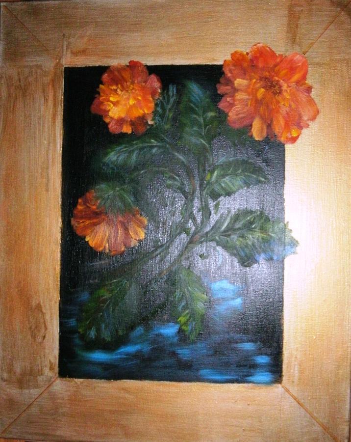 Flowers Painting - Marigolds by Karen Lipek