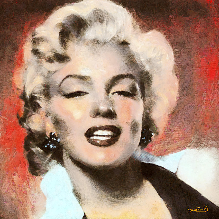 Marilyn Monroe Painting - Marilyn In Retro Color by Wayne Pascall