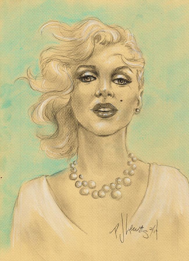 Marilyn Monroe Drawing - Marilyn In White by P J Lewis