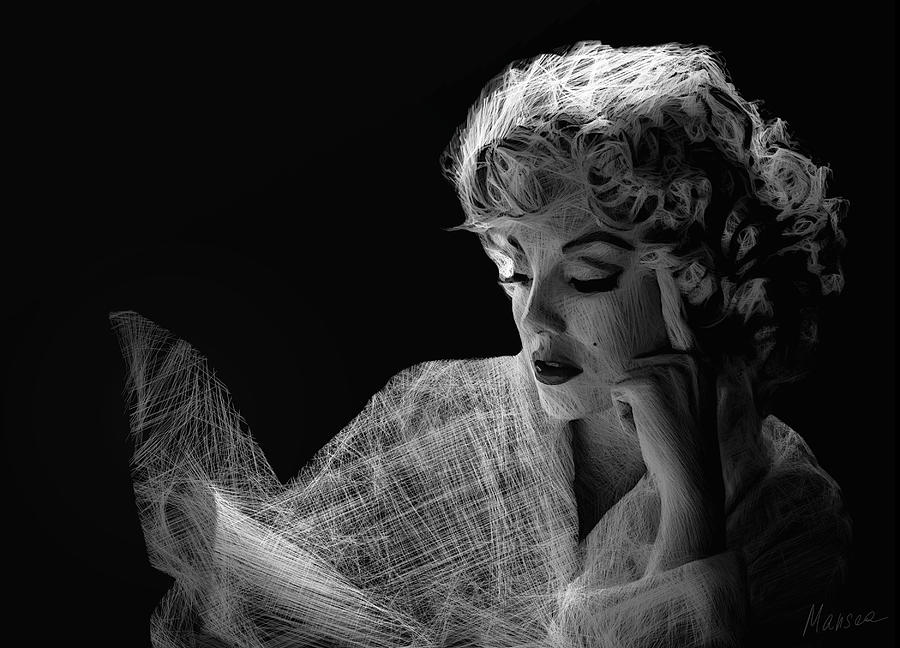 Marilyn Monroe Drawing - Marilyn by Marina Likholat