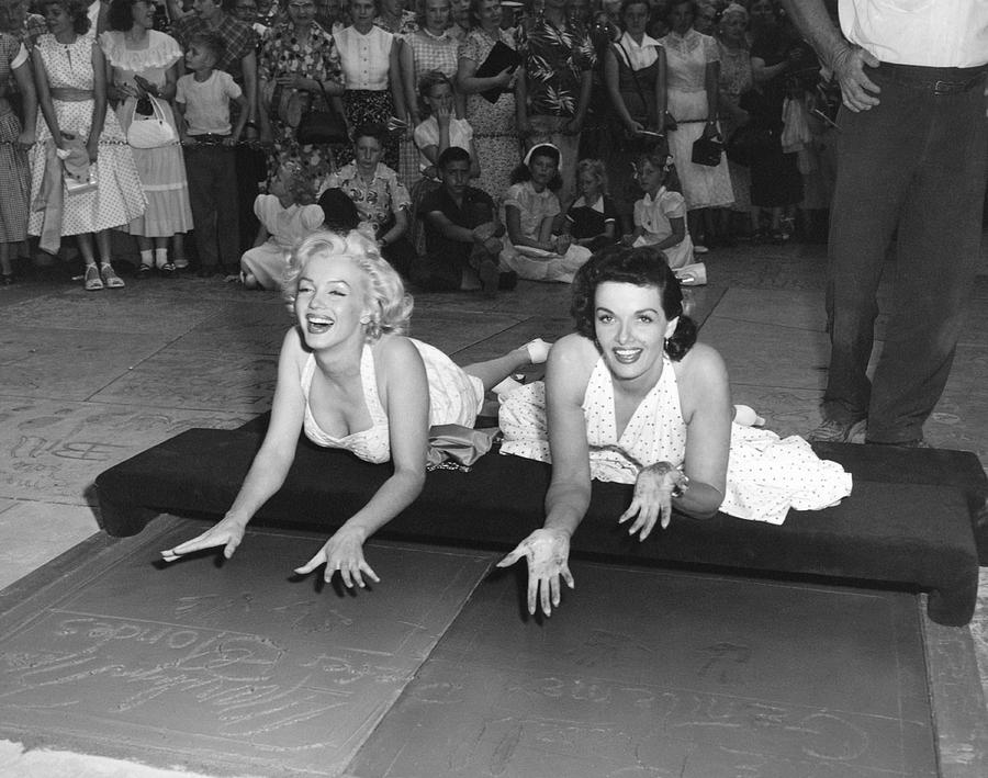 1950's Photograph - Marilyn Monroe And Jane Russell by Underwood Archives