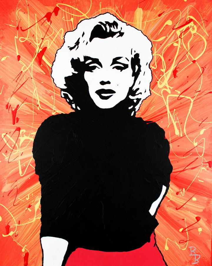 Marilyn Monroe - Red Drip by Bob Baker