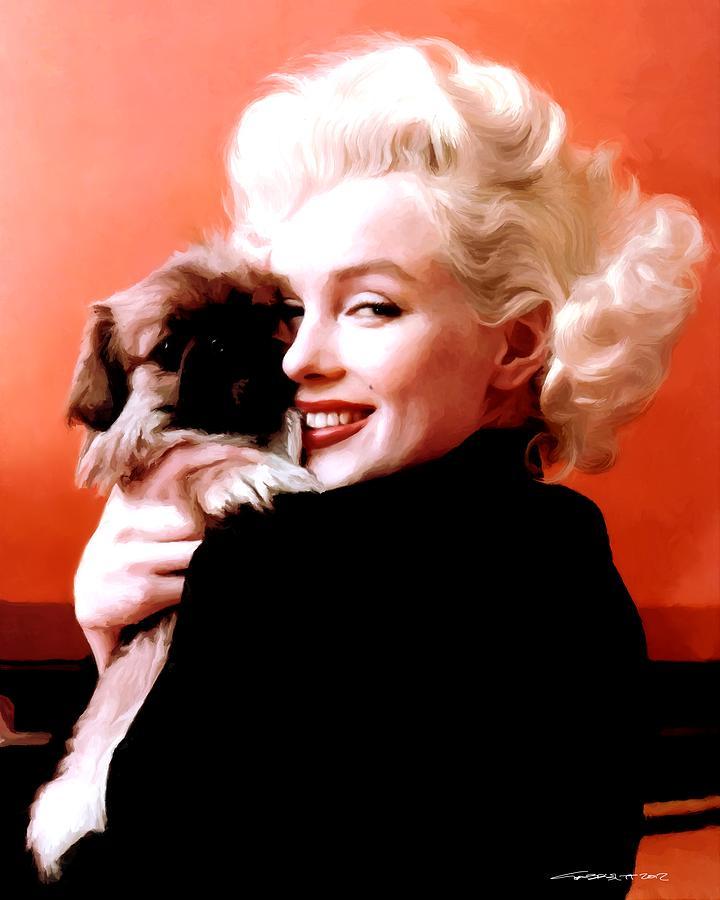 Marilyn Monroe Digital Art - Marilyn Monroe and Pekingese Portrait by Gabriel T Toro