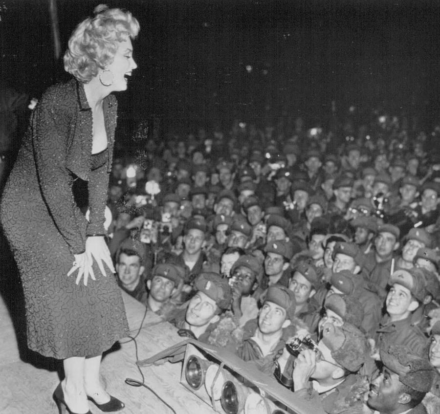 Marilyn Monroe Entertains the Troops by Retro Images Archive