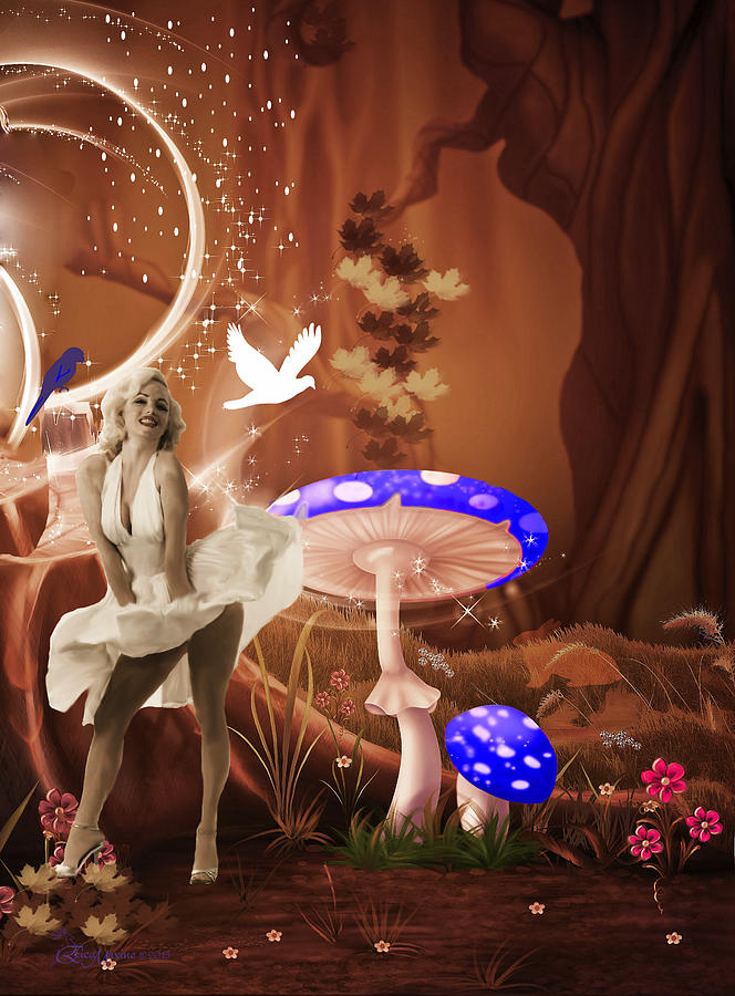 Famous Photograph - Marilyn Monroe In Fantasy Land by EricaMaxine  Price