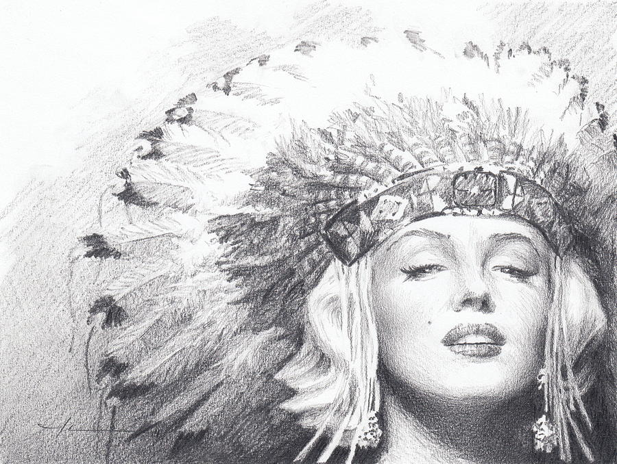 Marilyn Monroe In Headdress Pencil Portrait Drawing by Mike Theuer