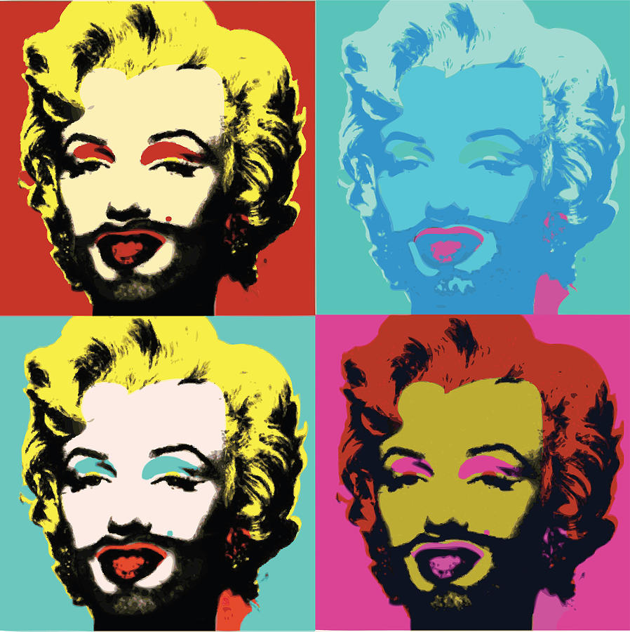 Marilyn Monroe Like Andy Warhol With Beard Digital Art by ...