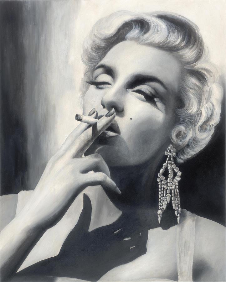 Marilyn Monroe Painting - Marilyn Monroe Smoking by Glenda Stevens
