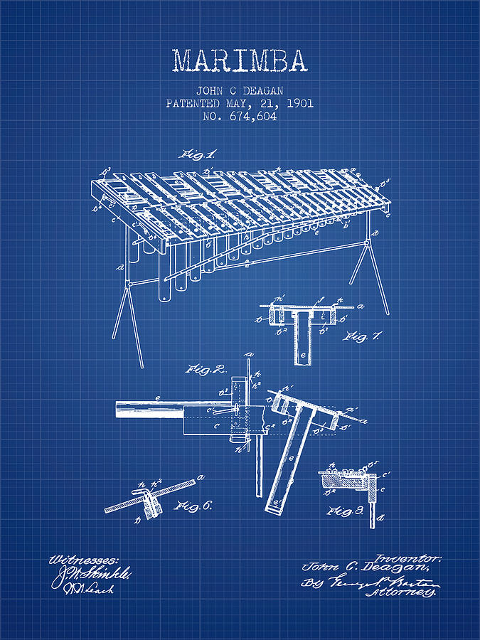 Marimba music instrument patent from 1901 blueprint digital art by marimba digital art marimba music instrument patent from 1901 blueprint by aged pixel malvernweather Images