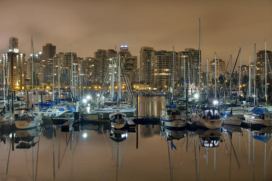 Marina Photograph - Marina Along Stanley Park In Vancouver Bc by David Gn