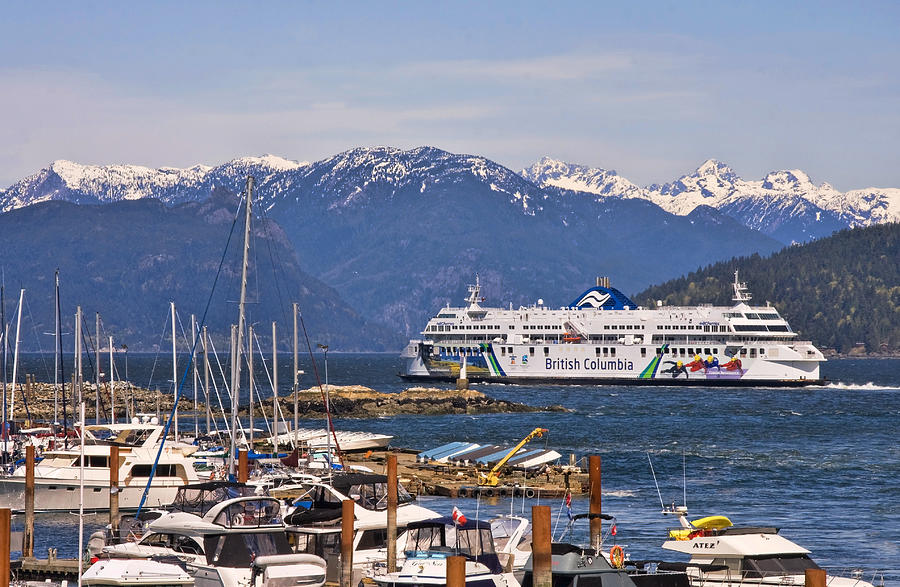 Marina Photograph - Marina and Horseshoe Bay Ferry Terminal by Peggy Collins