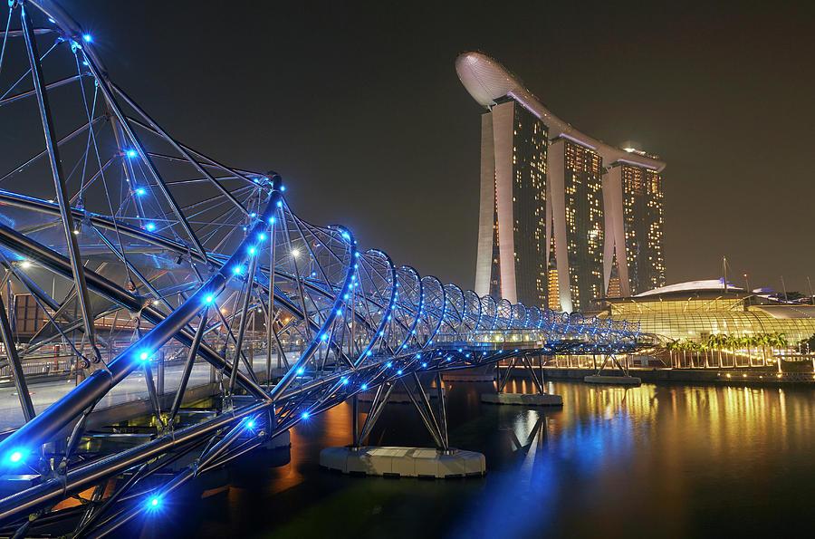 Marina Bay Sands And Helix Bridge At Photograph by Allan Baxter