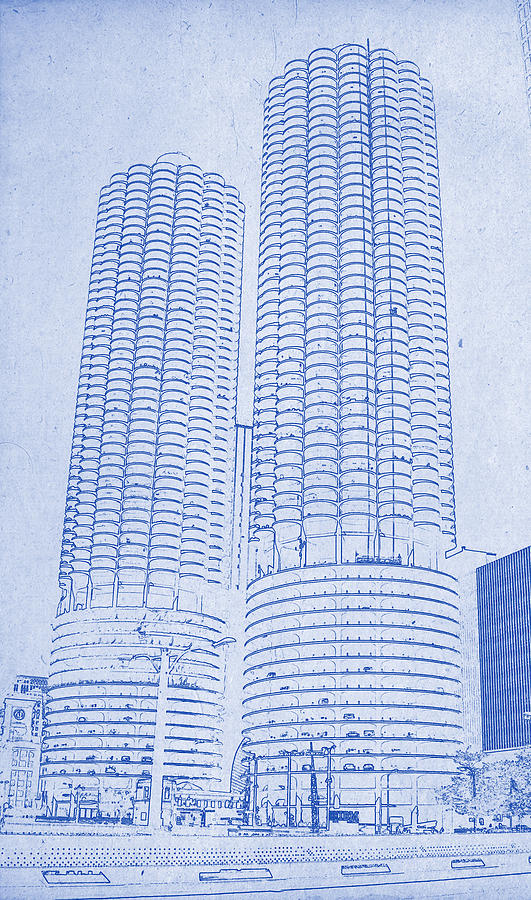 Marina city from across the river chicago illinois blueprint digital chicago skyline digital art marina city from across the river chicago illinois blueprint by motionage malvernweather Gallery