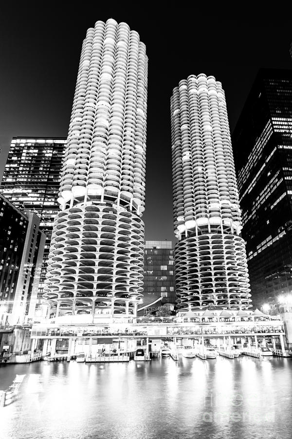 America Photograph - Marina City Towers At Night Black And White Picture by Paul Velgos