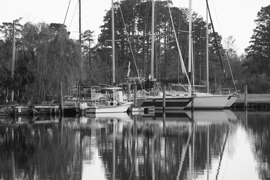 Boat Photograph - Marina In Black And White by Carolyn Ricks