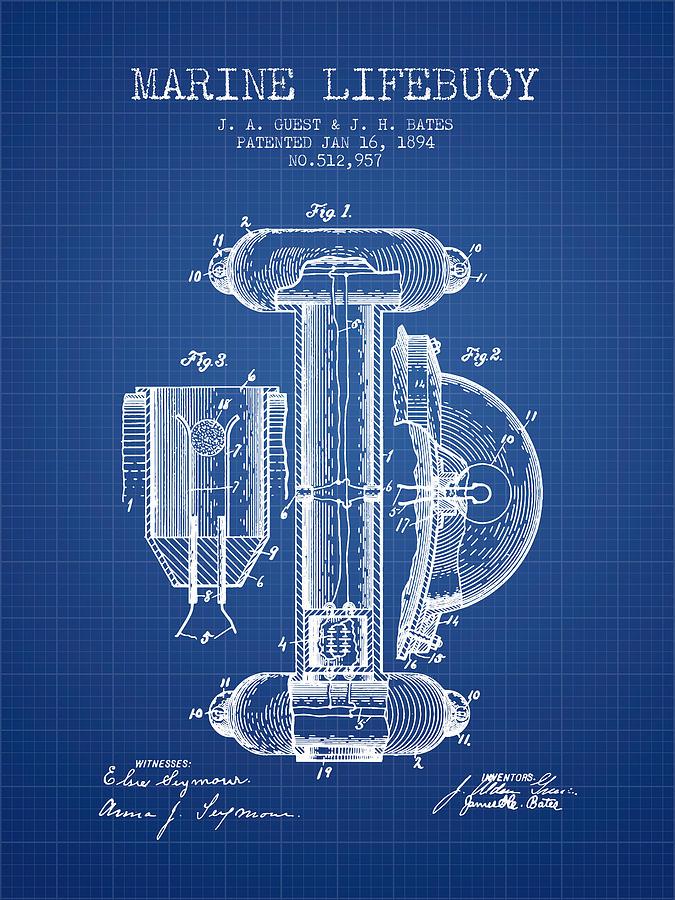 Lifebuoy Digital Art - Marine Lifebuoy Patent From 1894 - Blueprint by Aged Pixel