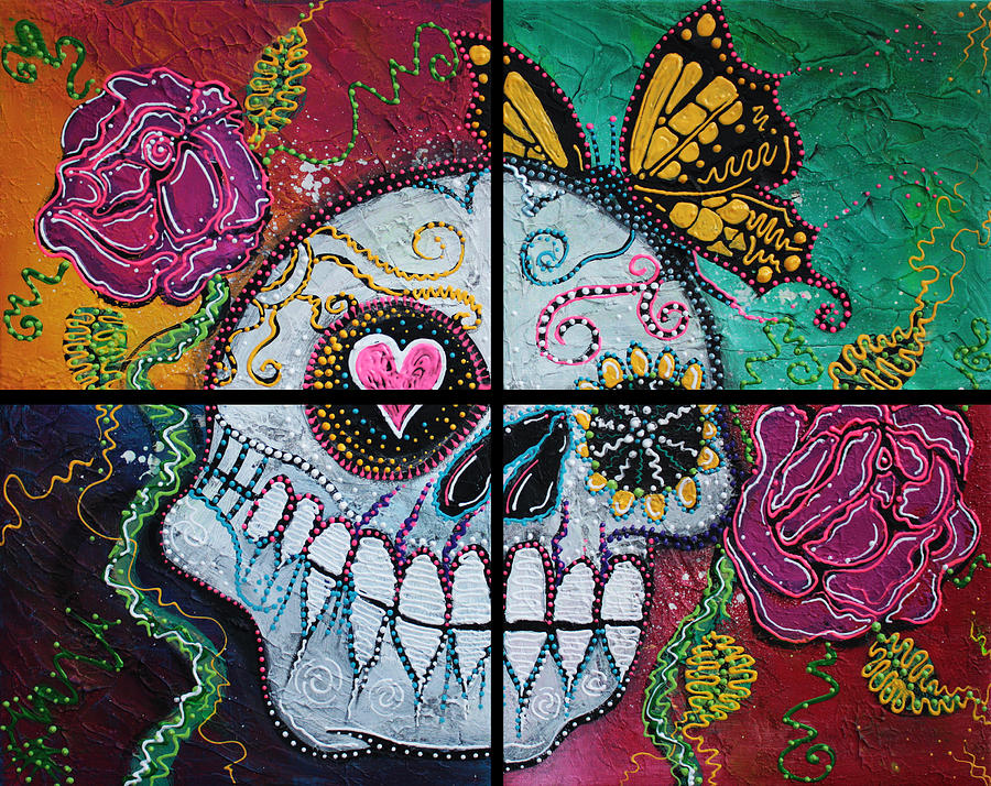 Sugar Skull Painting - Mariposa - A Spirit Returns by Laura Barbosa