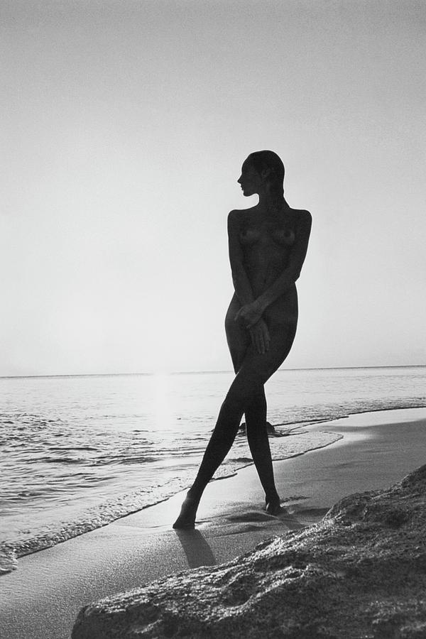 Marisa Berenson At A Beach Photograph by Arnaud de Rosnay