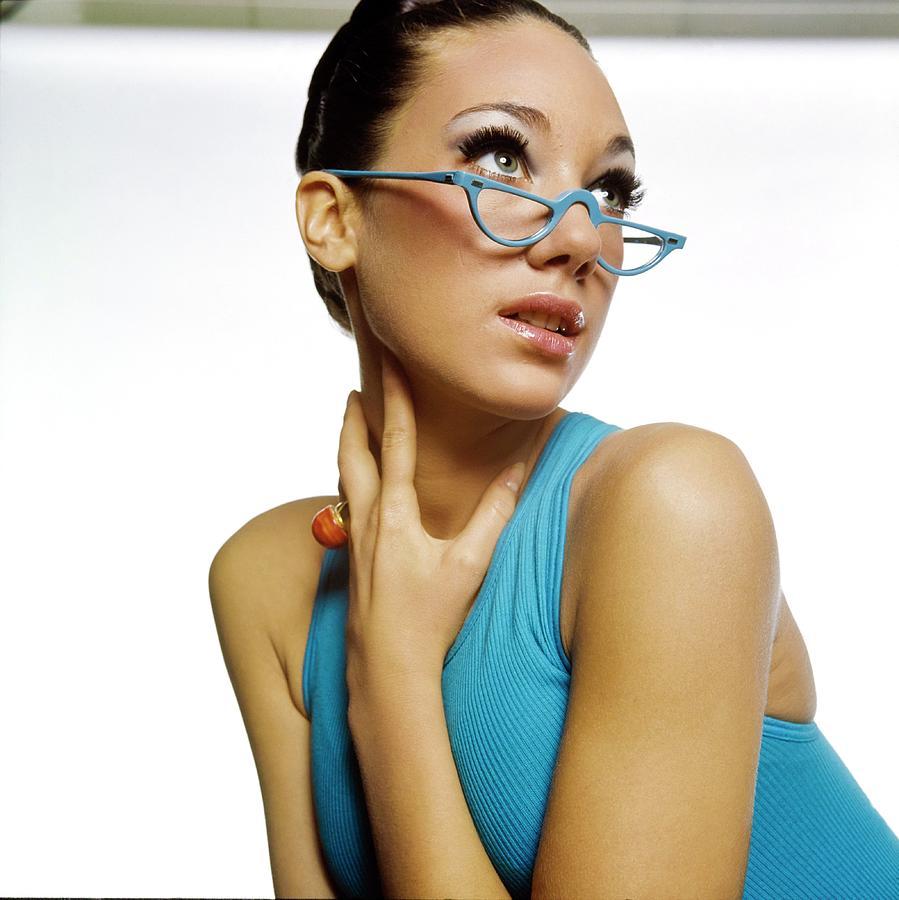 Accessories Photograph - Marisa Berenson Wearing Blue Glasses by Bert Stern