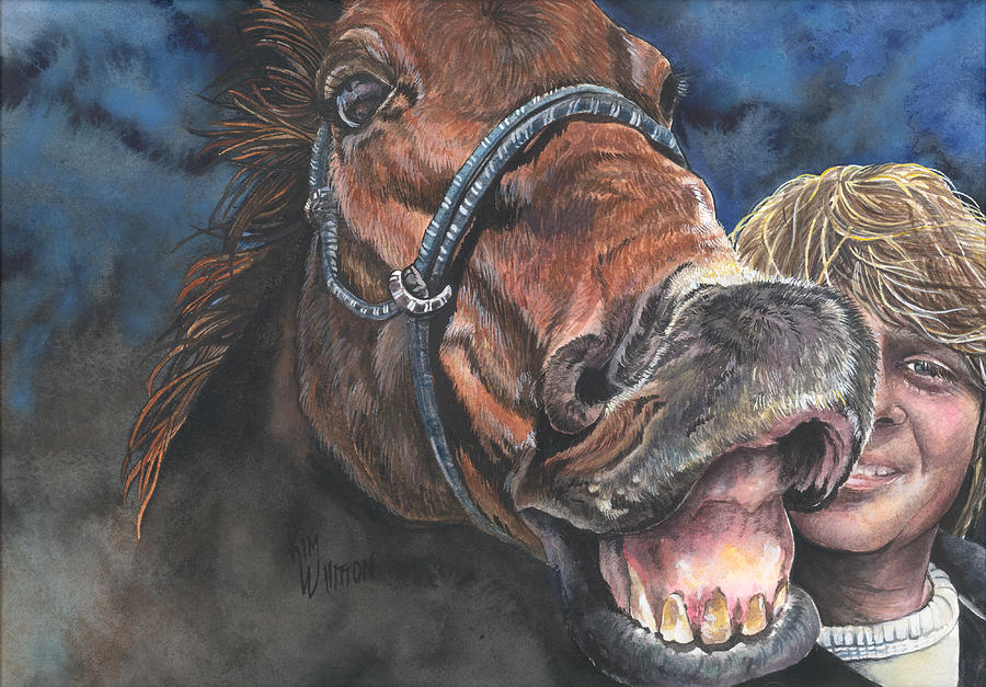Horse Painting - Mark And Shady..a Selfie by Kim Sutherland Whitton