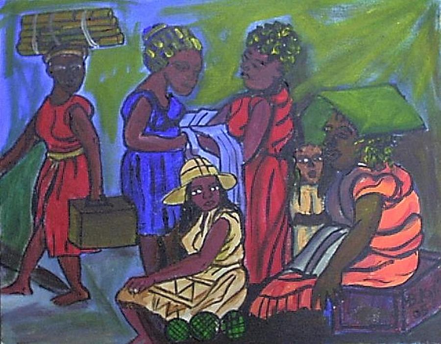 Market  Painting by Kalikata MBula