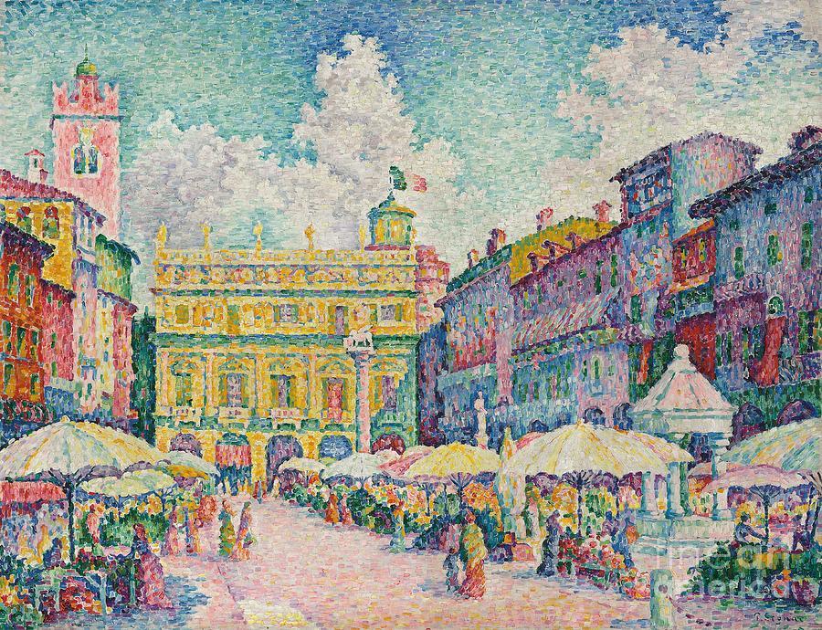Post Painting - Market Of Verona by Paul Signac