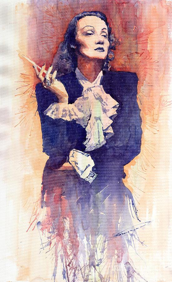Watercolour Painting - Marlen Dietrich  by Yuriy  Shevchuk