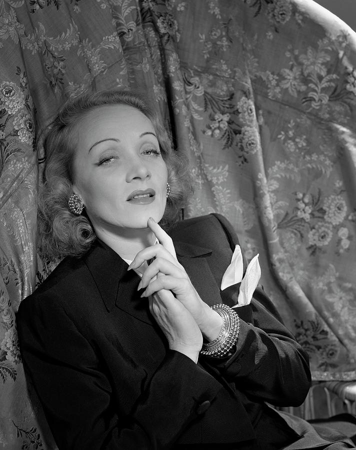 Marlene Dietrich Wearing A Suit Jacket Photograph by Horst P. Horst