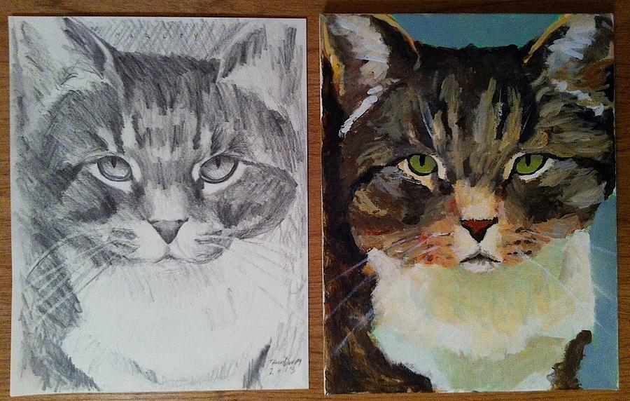 Cat Painting - Marley Diptych by Thom Duffy