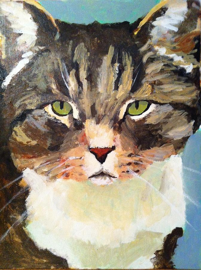Cat Painting - Marley Memorial On Canvas by Thom Duffy